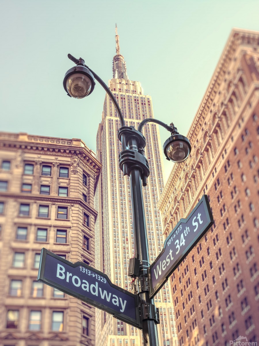 Street lamp and street signs with Empire State building in background - New York  Print