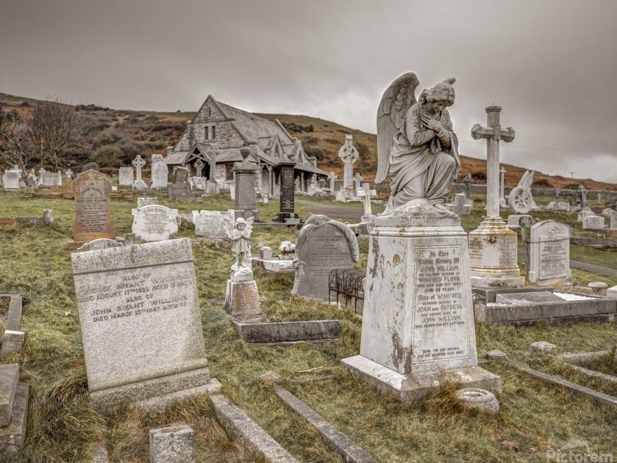 Cemetery in Llandudno, North Wales  Print