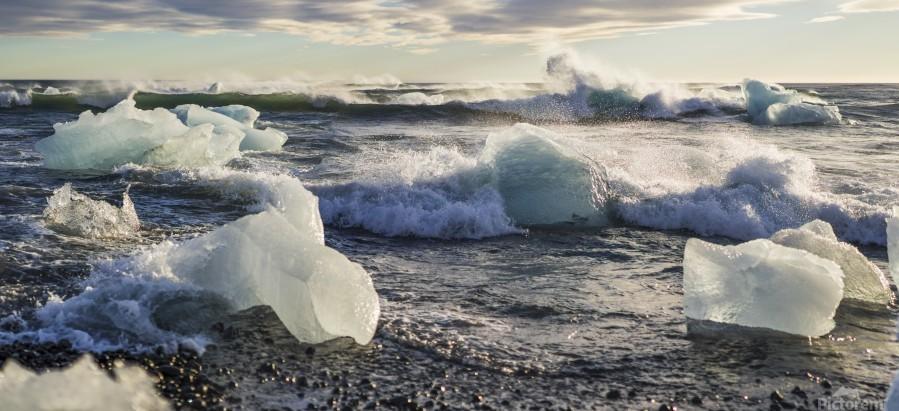 Ice bergs on Jokulsarlon beach Iceland  Print