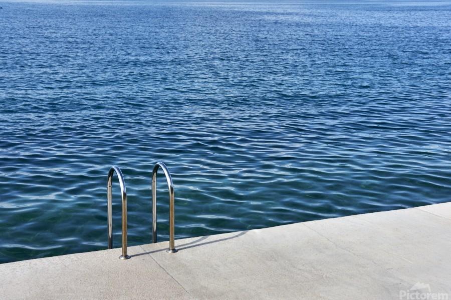 Pool ladder on the shore of the slovenian adriatic coast Piran Slovenia  Print