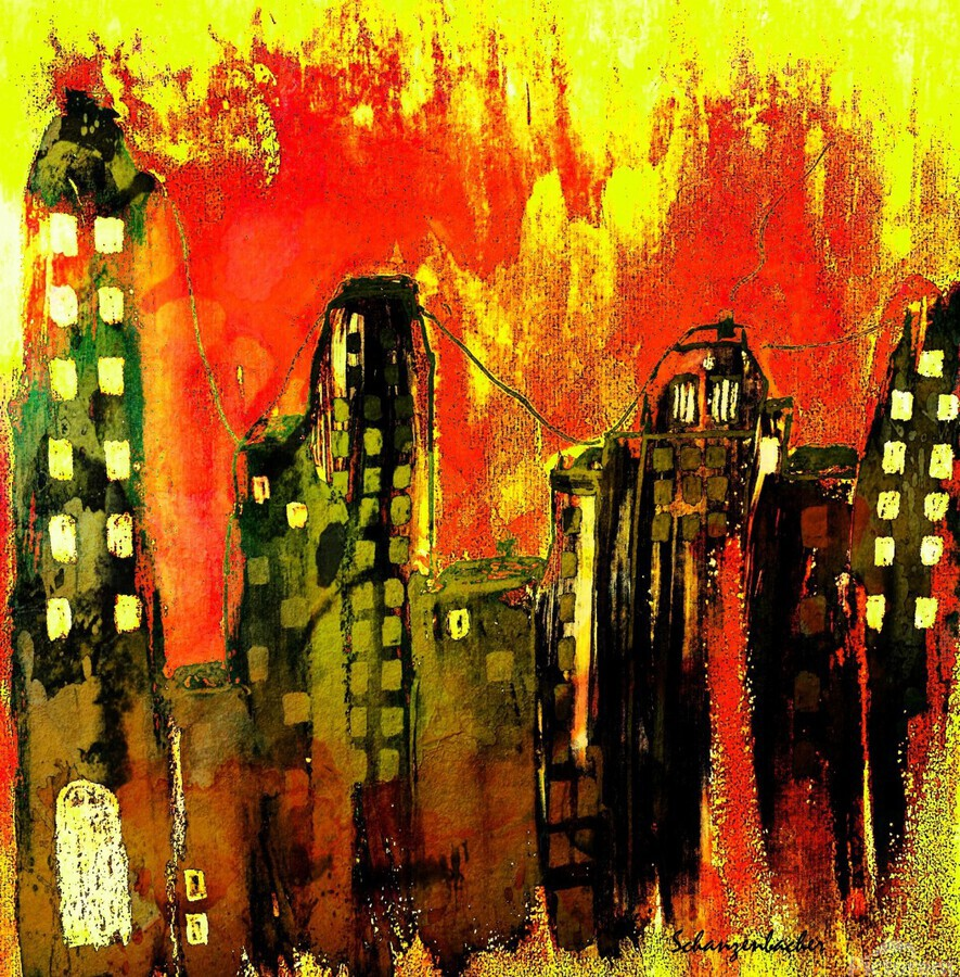 City on fire  Print