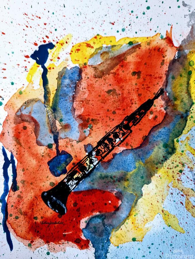 Clarinet watercolor  Print