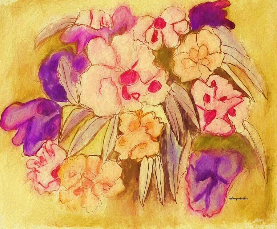 Floral pansies  Print