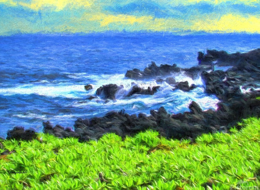 Hana Beach Hawaii Watercolor  Print