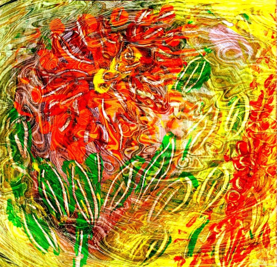 orange flower energy abstraction  Print