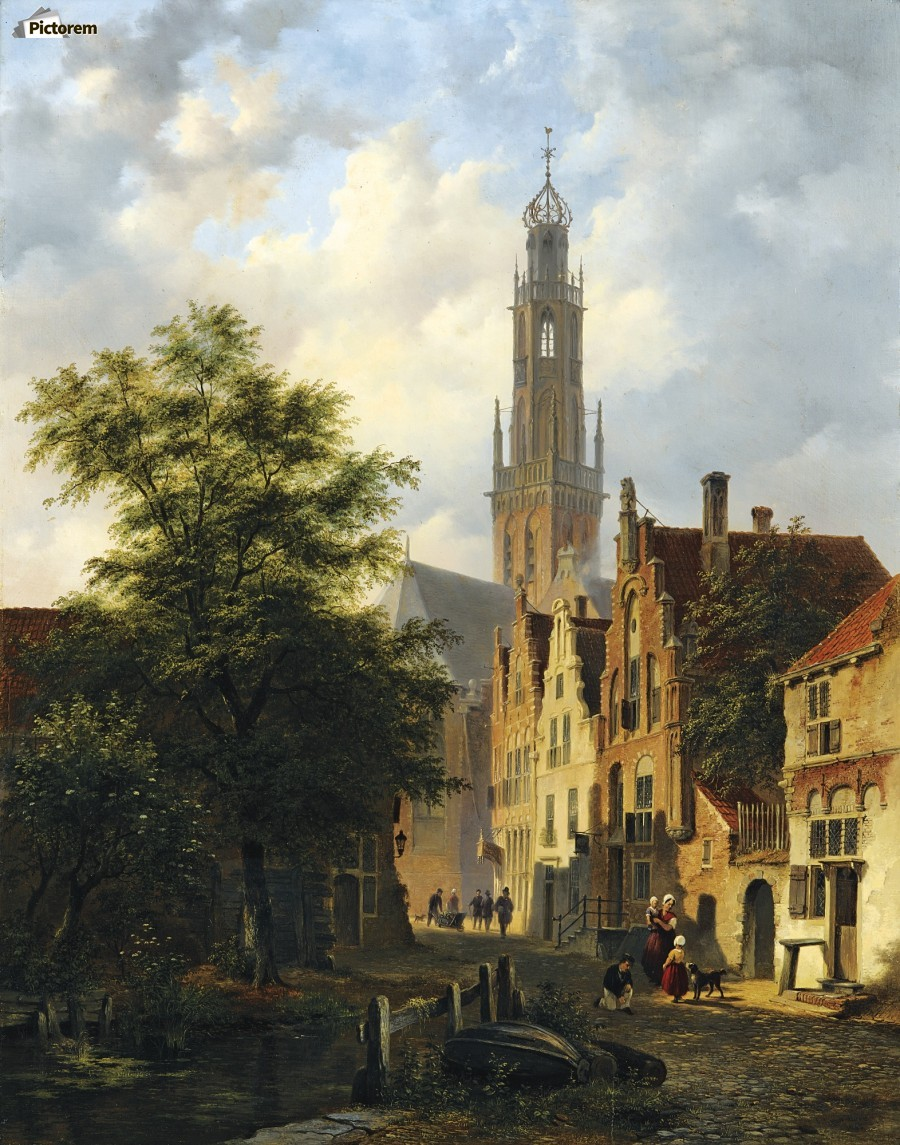 Bakenesserkerk seen from The Valkestraat, Haarlem  Print