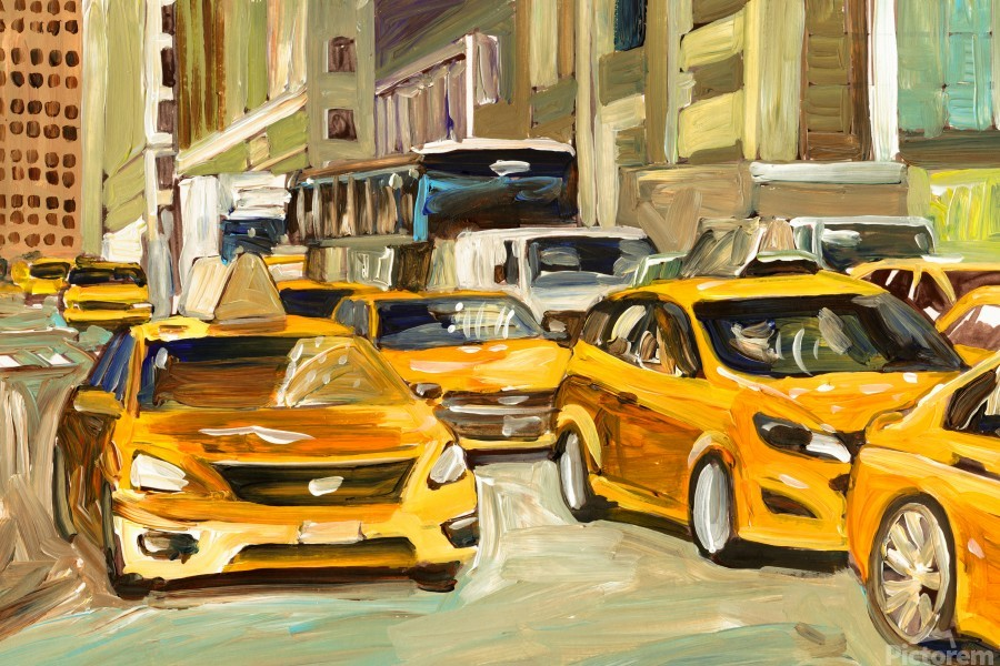 Cabs rushing By  Print