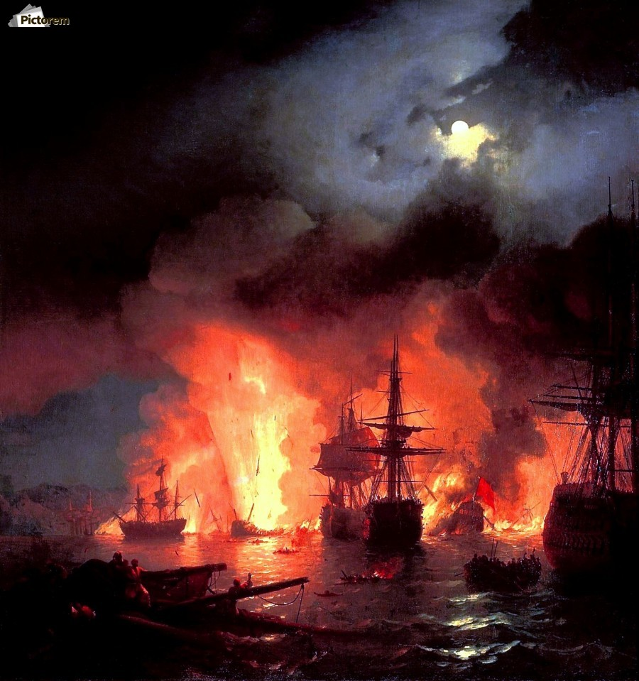 Battle of Cesme at Night  Print