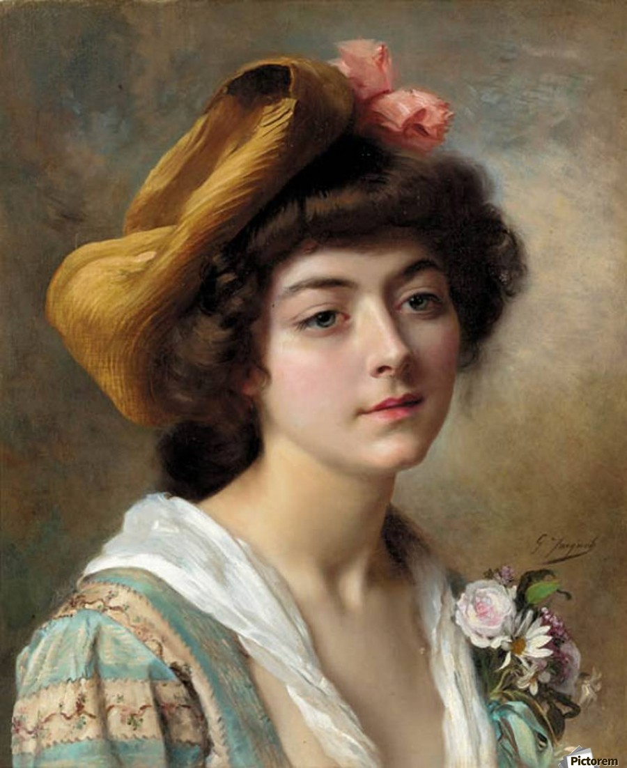 Beautiful Girl With Flowers Gustave Jean Jacquet Canvas