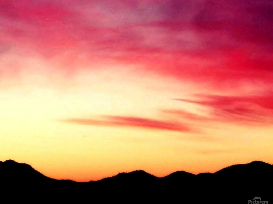 Colorful Dusk Mountain view  Print