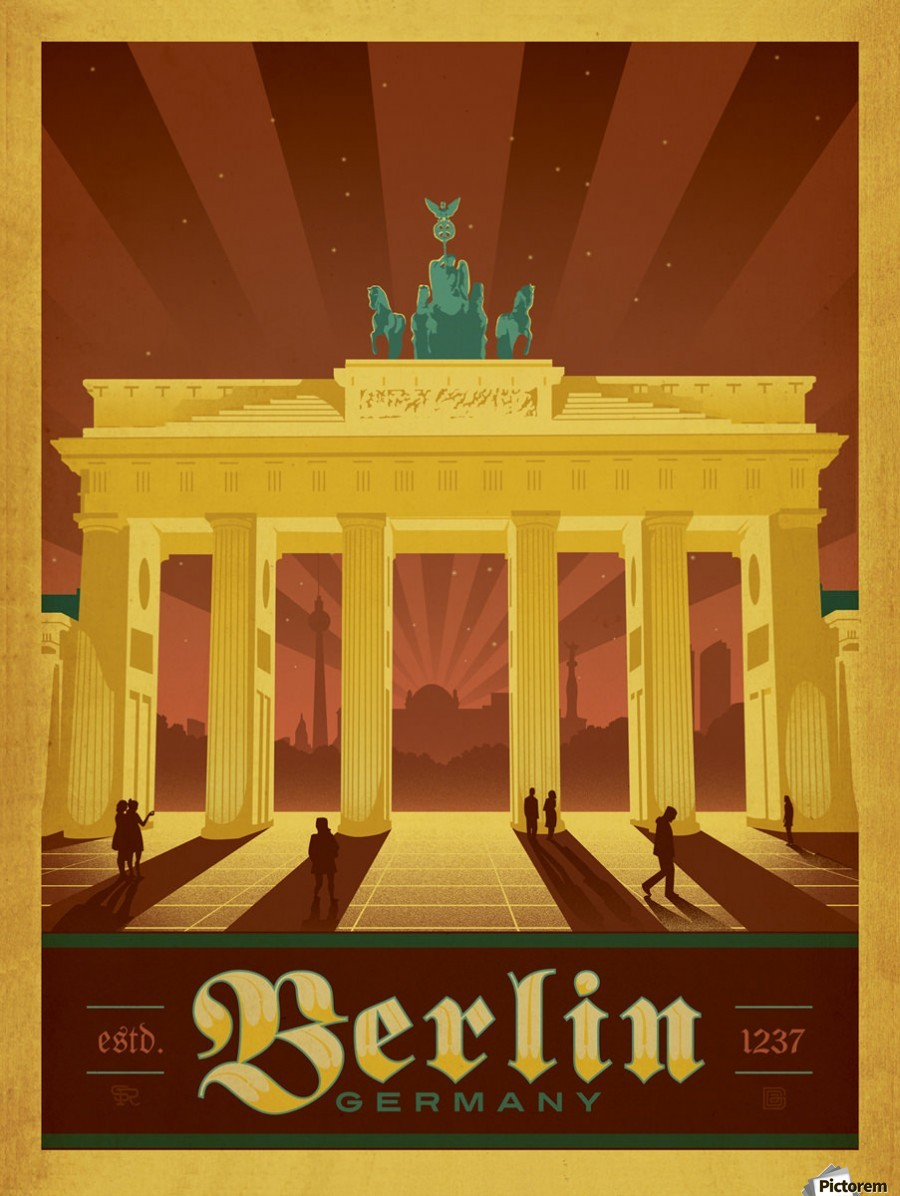 berlin germany travel poster vintage poster canvas. Black Bedroom Furniture Sets. Home Design Ideas