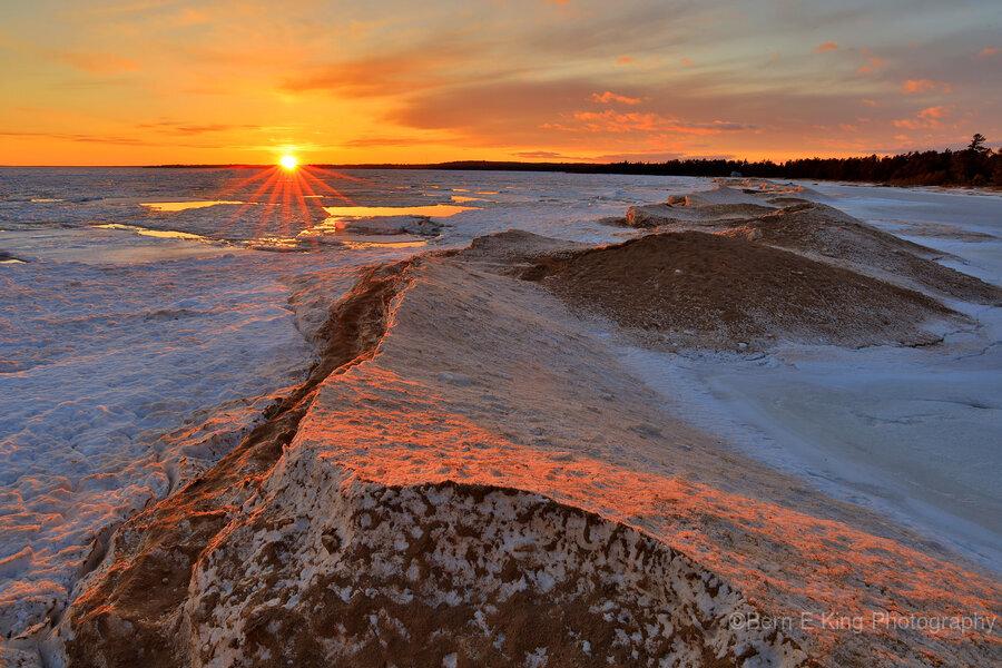Icy Sunset  Naubinway Michigan  Print