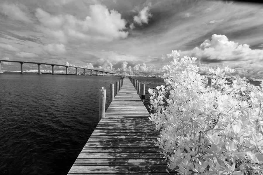 Wabasso Causeway Florida with boat dock  Print