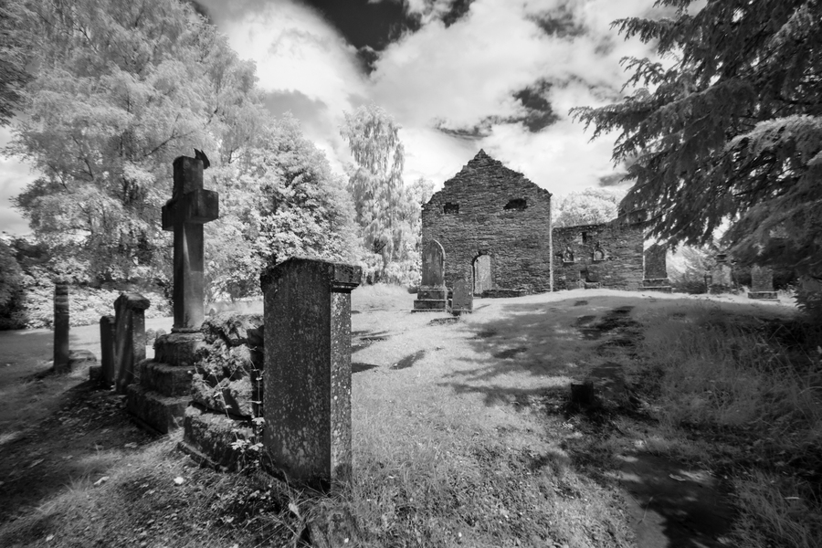 Infrared Scotland graveyard  Print