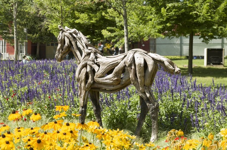 Odyssey the horse and Hope the Colt sculptures made of driftwood by Heather Jansch. 2  Print