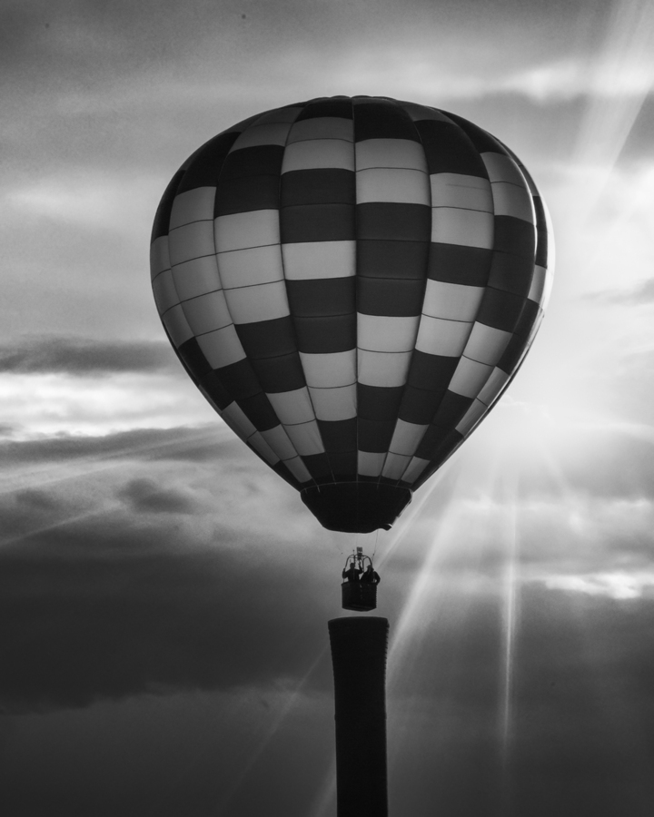 Hot Air Balloon On A Smokestack  Print