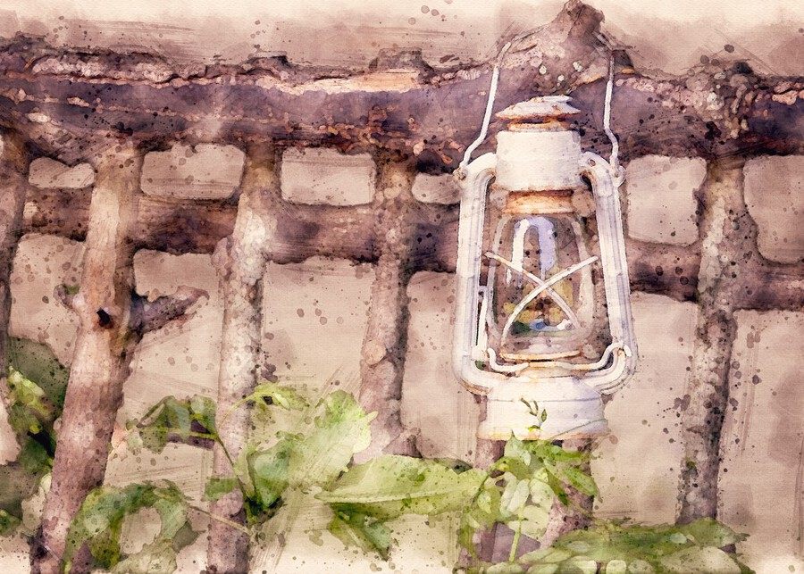 Maine Country Fence and Lantern  Print