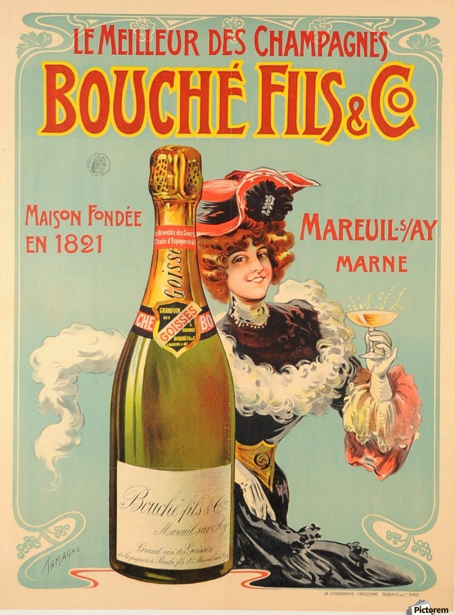 Bouche Original Vintage French Alcohol Advertising Poster Print