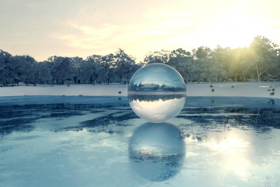 crystal ball on frozen lake  Print
