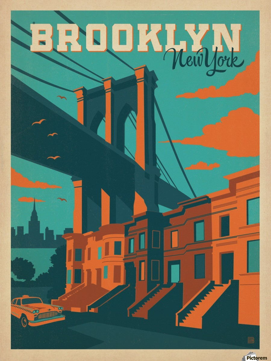 73a96f27678 Brooklyn New York - VINTAGE POSTER Canvas