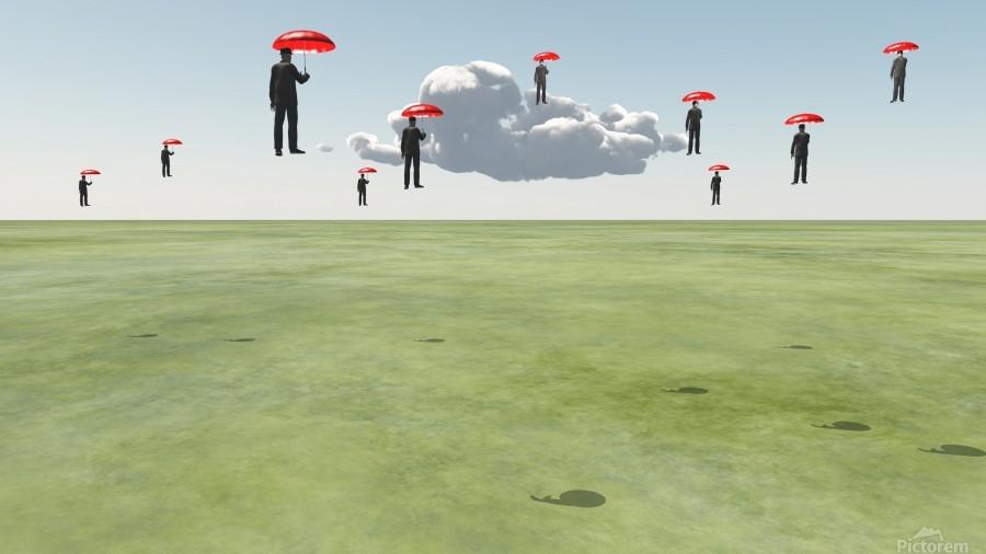 Surreal Floating Men  Print