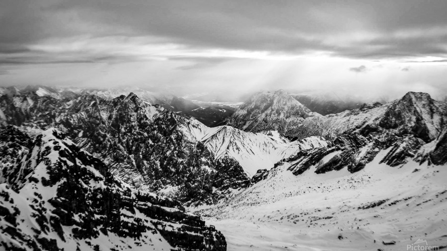 Zugspitze in black and white  Print