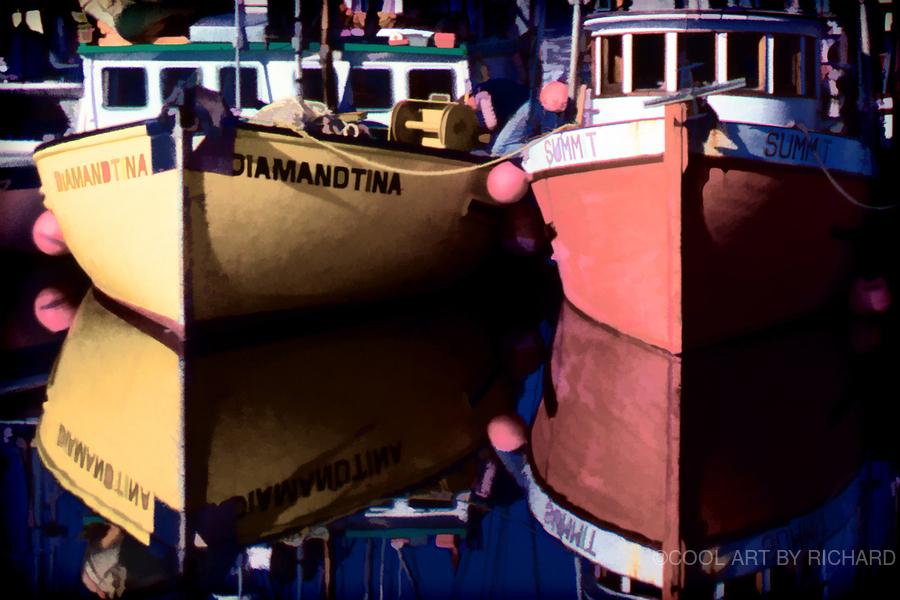 Moored Fishing Boats  Print