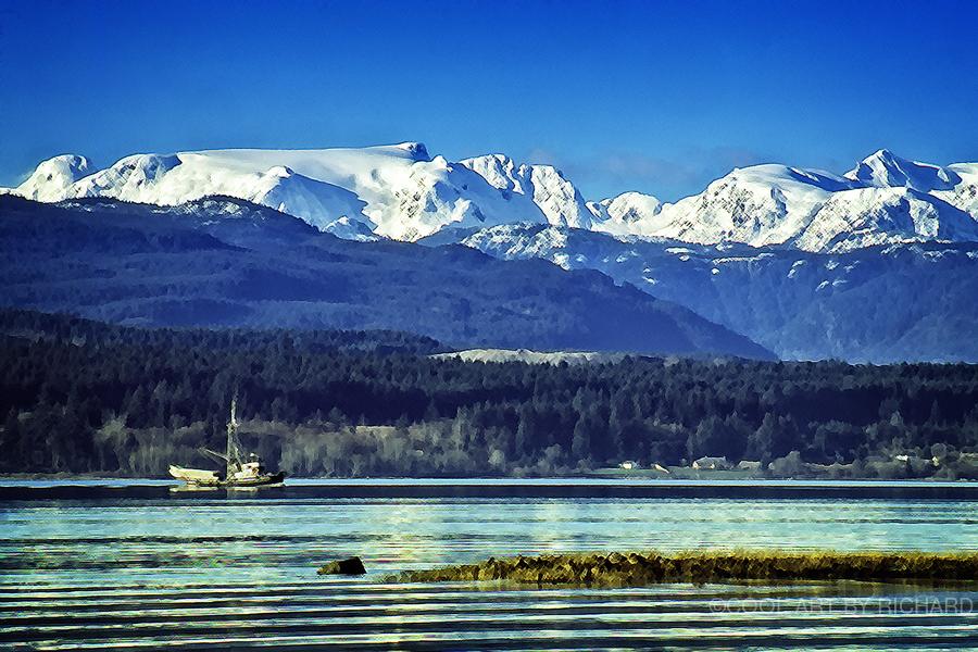 Comox Glacier and Herring Boat  Print