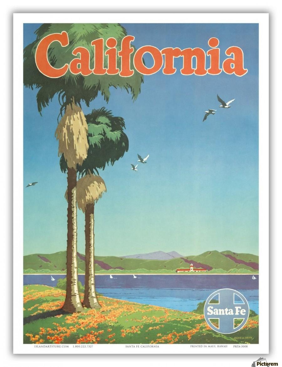 Canvas Santa Fe >> California Santa Fe Poster Vintage Poster Canvas Artwork