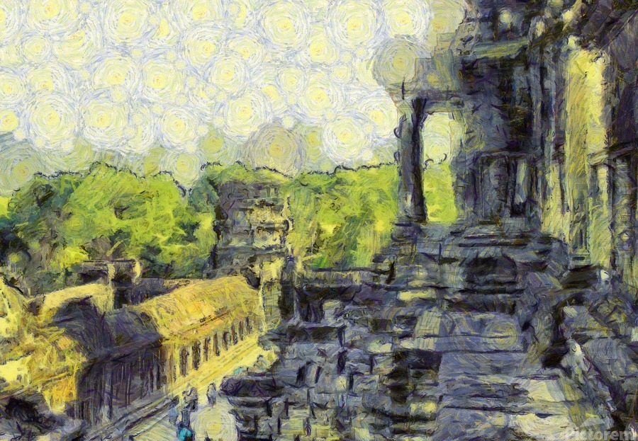 CAMBODIA Angkor Wat oil painting in Vincent van Gogh style. 130  Print