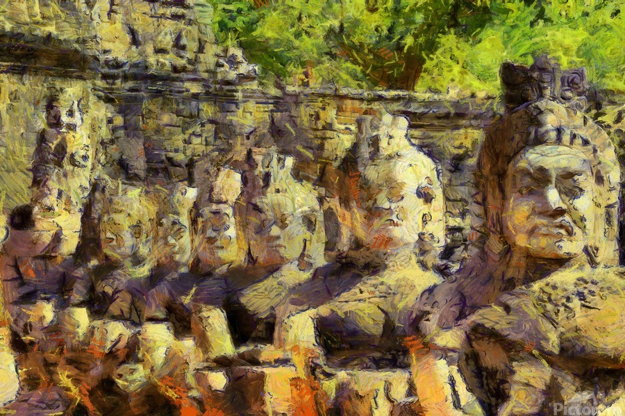 CAMBODIA Angkor Wat oil painting in Vincent van Gogh style. 141  Print