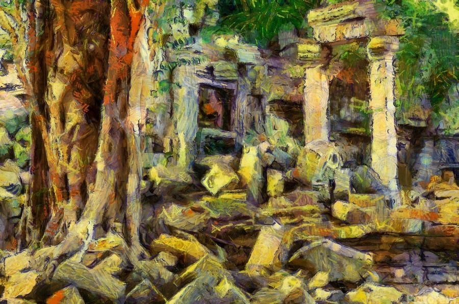 CAMBODIA Angkor Wat oil painting in Vincent van Gogh style. 148  Print