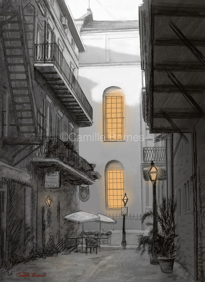 Light in the alley a French quarter scene  Print
