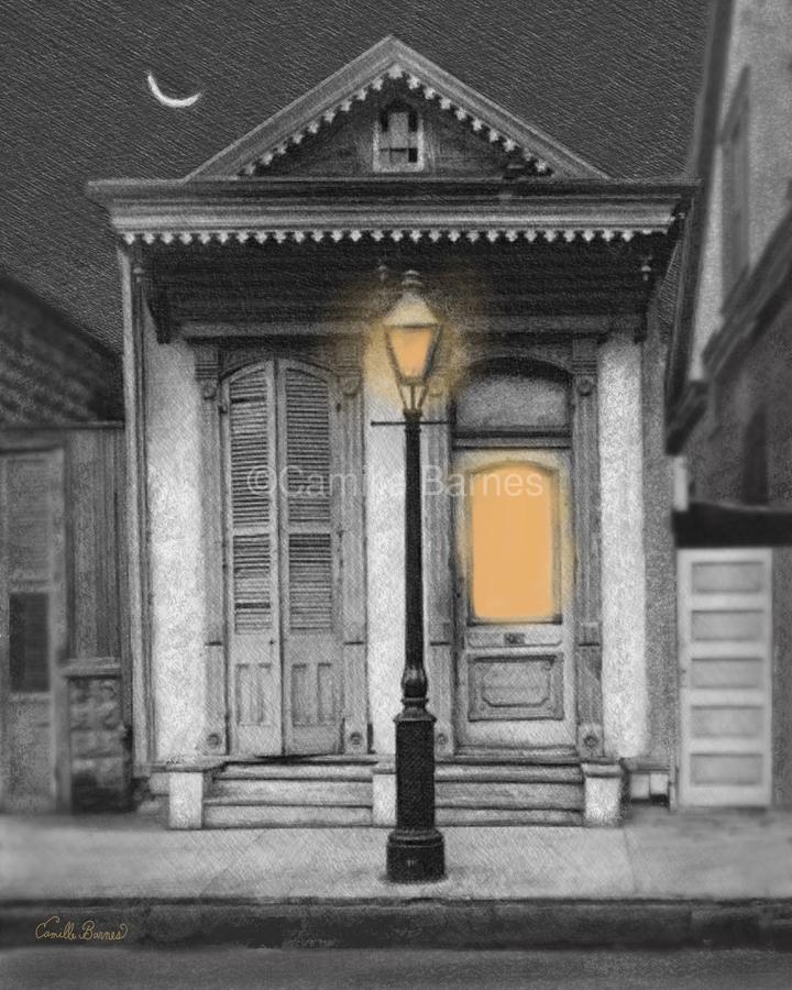French Quarter Lamp Light  Print