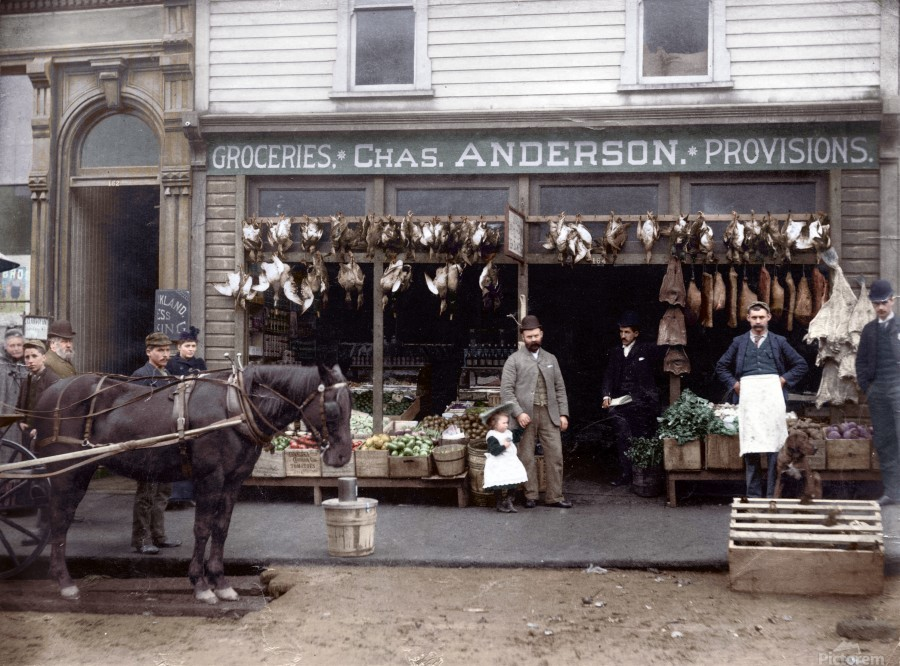 Chas Anderson Grocery Vancouver 1890s  Print
