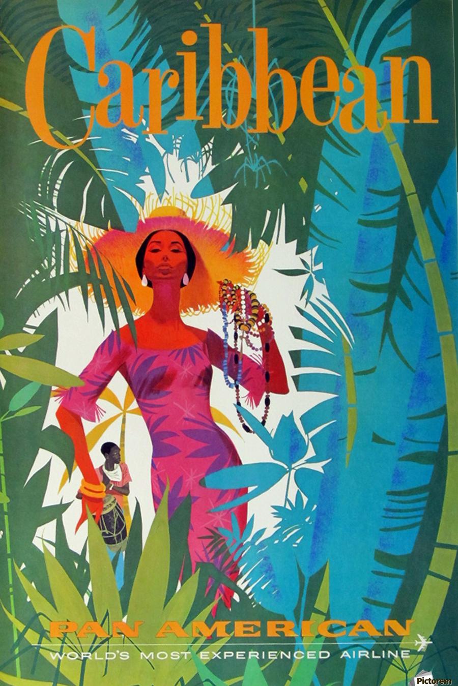 Caribbean Pan American - VINTAGE POSTER Canvas