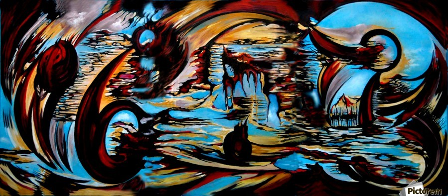 Incidental Landscape with Secret Reality , Carmen Fine Art , Landscape, Secret, Reality, Abstract, Oil Canvas Painting, Blue, Red, Yellow, Black