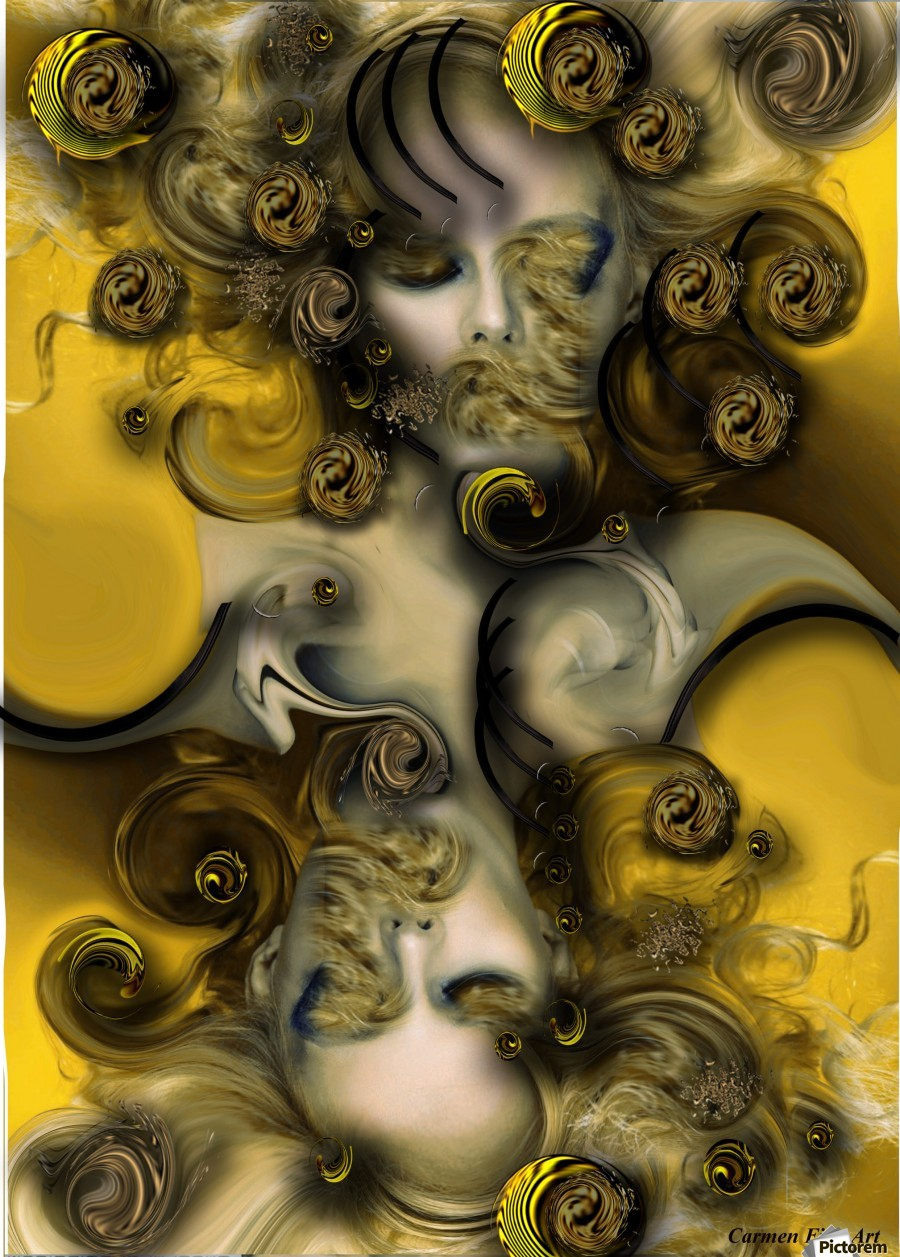 Movement with Venus , Carmen Fine Art , Movement, Venus, Abstract Art, Digital Art, Orange, Yellow, Green, White, Black