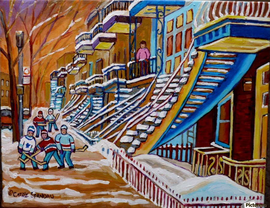 MONTREAL WINTER SCENE HOCKEY GAME NEAR THE BLUE STAIRCASE  Print