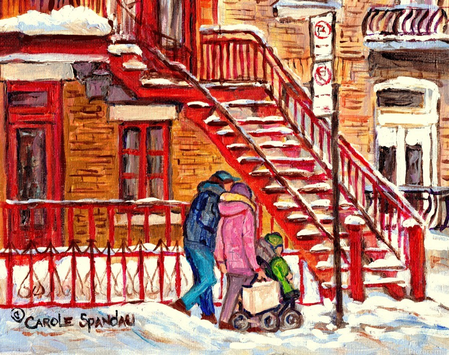 MONTREAL PAINTING OF WINTER SCENE COUPLE NEAR SPIRAL STAIRCASE   Print