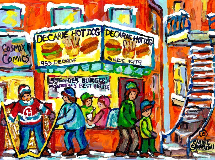 DECARIE HOT DOG MONTREAL WINTER SCENE PAINTING  Print