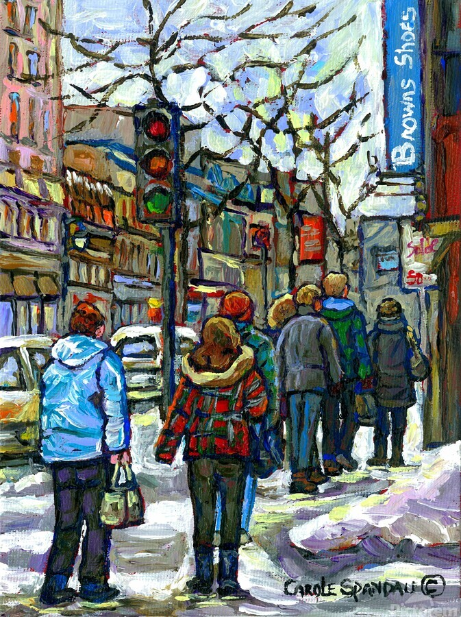 DOWNTOWN MONTREAL WINTER SCENE SHOPPERS ON ST. CATHERINE STREET  Print