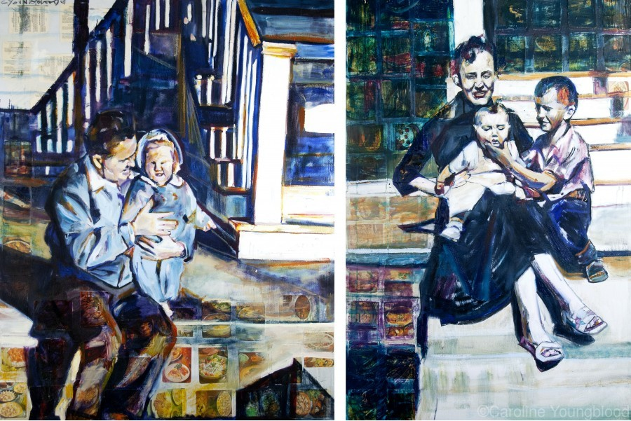 Louisiana father and Mother at the Stairs Diptych with Vintage Recipe Collage  Print