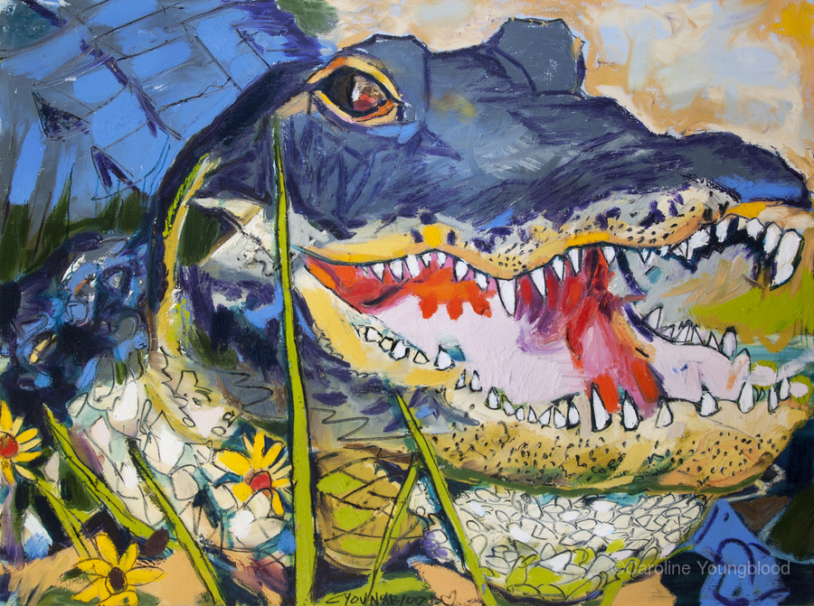 Louisiana Alligator with Wildflowers  Print