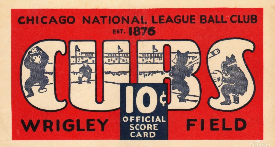1929 Chicago Cubs score card  Print