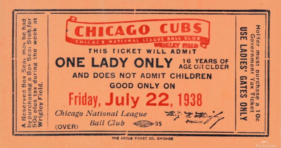 1938 Chicago Cubs World Series Ticket  Print