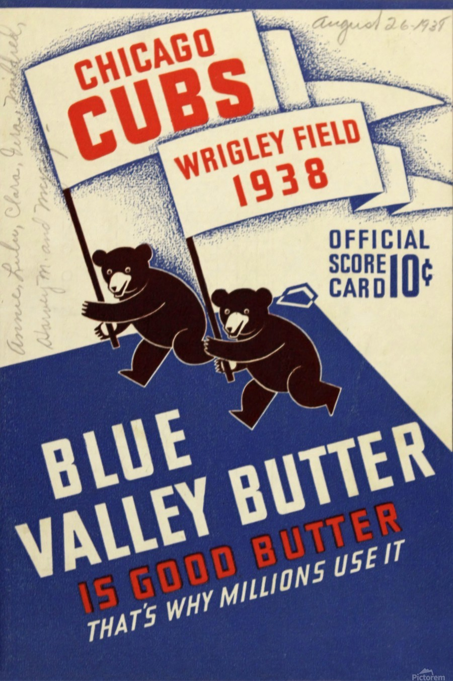 1938 Chicago Cubs Program Cover  Print