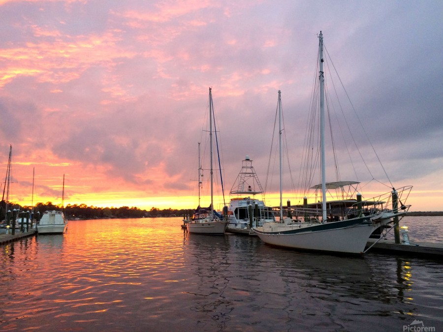Sunset Sailboat 2  Print