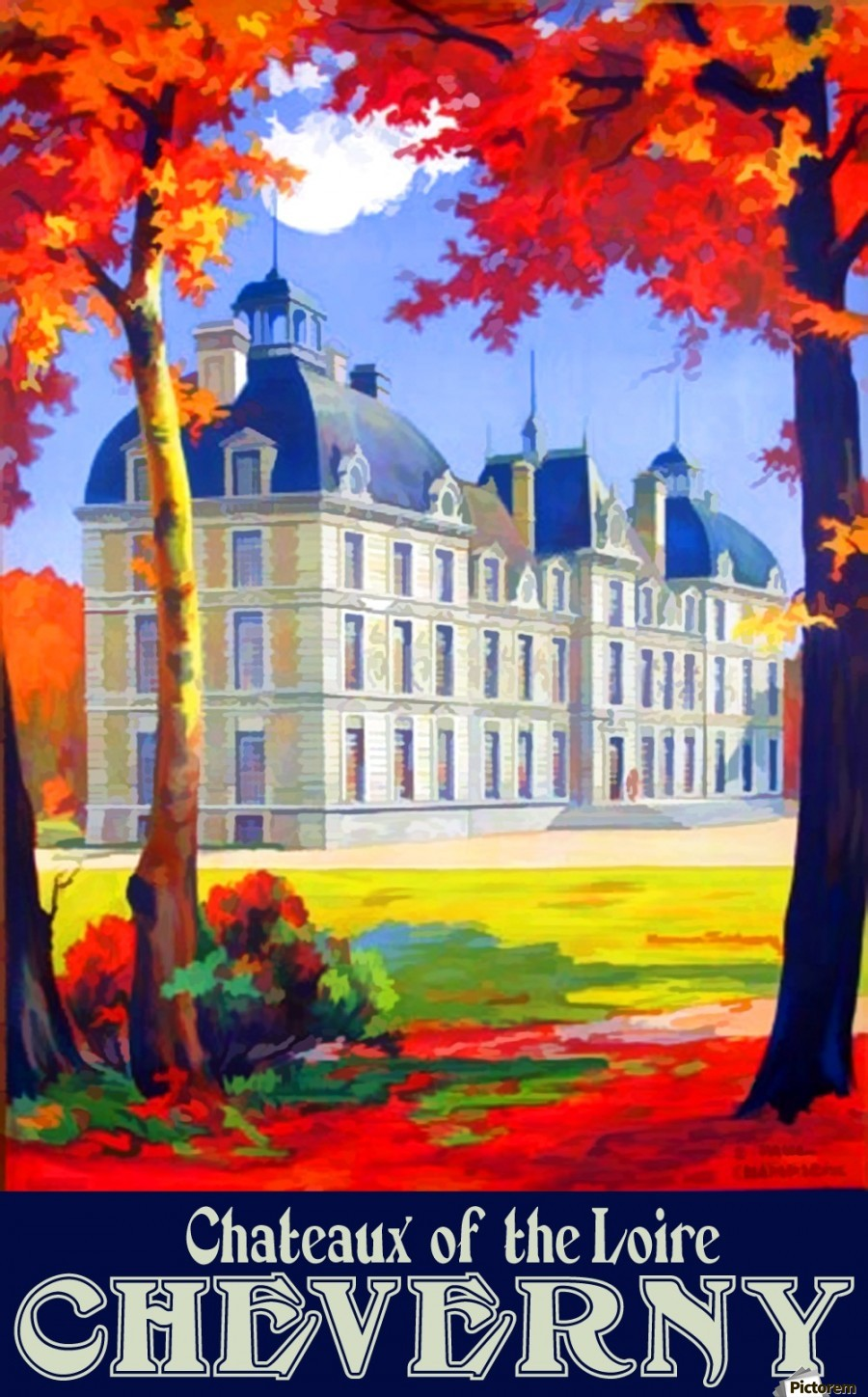 Chateaux of the Loire Cheverny travel poster  Print