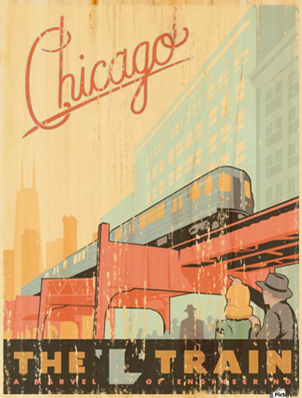 Chicago L Train Vintage Art Poster - VINTAGE POSTER Canvas